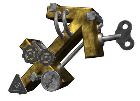 dieselpunk: metal asterisk archer symbol on white background - 3d illustration