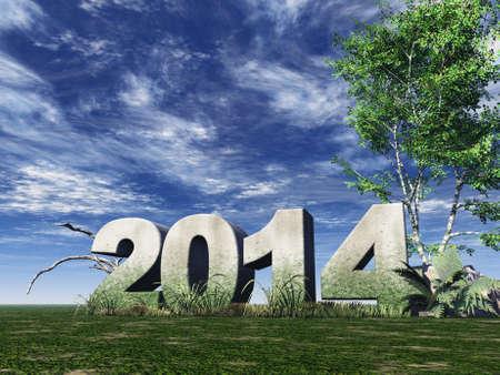 흐린 푸른 하늘 아래 비석 2014 - 차원 그림