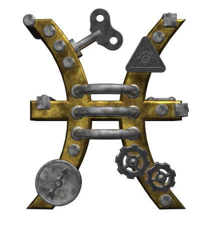 dieselpunk: metal asterisk pisces symbol on white background - 3d illustration