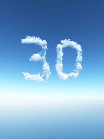 null: clouds makes the shape of number thirty - 3d illustration