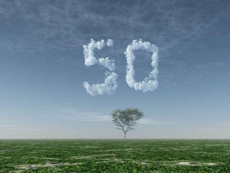 구름 번호 50의 모양을 만드는 - 차원 그림 스톡 콘텐츠