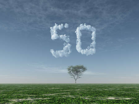 one year: clouds makes the shape of number fifty - 3d illustration