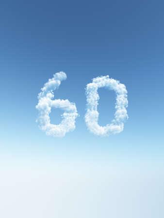 구름 수 예순의 모양을 만든다 - 차원 그림 스톡 콘텐츠