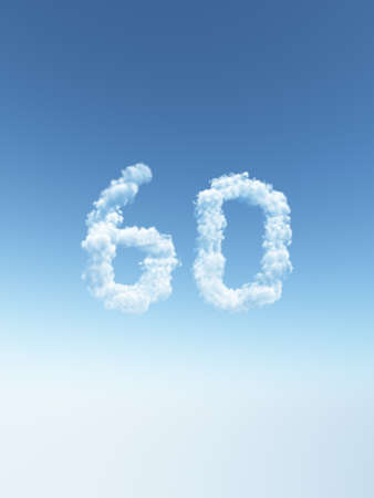 clouds makes the shape of number sixty - 3d illustration