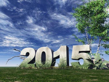 stone monument 2015 under cloudy blue sky - 3d illustration illustration