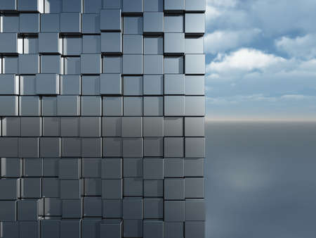 cubes wall in front of cloudy blue sky - 3d illustration