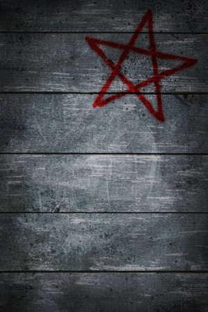 pentacle on wooden grunge background - 3d illustration Stock Illustration - 11143239