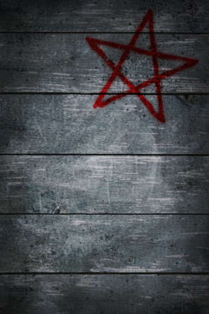 neopaganism: pentacle on wooden grunge background - 3d illustration