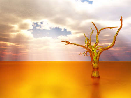 golden tree in abstract landcape - 3d illustration