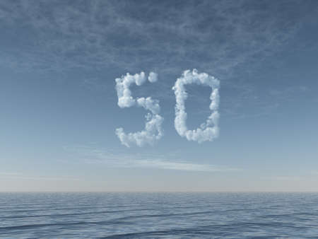 null: clouds makes the shape of number fifty over water - 3d illustration