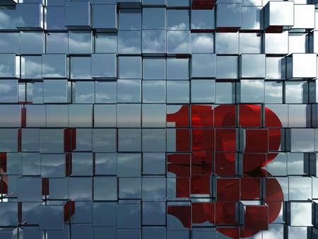 numero diez: pared de cubos de metal reflejan el n�mero diez - 3d ilustraci�n