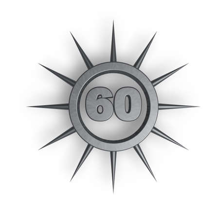 sixty: prickles ring with number sixty inside - 3d illustration