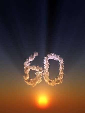 sixty: clouds makes the shape of number sixty - 3d illustration