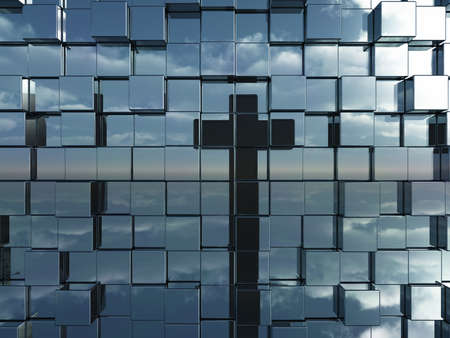 horizon reflection: cubes wall reflect christian cross - 3d illustration Stock Photo