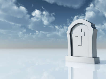 bury: gravestone with christian cross under cloudy blue sky - 3d illustration