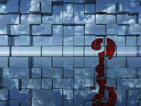 wall of chrome cubes reflect red question mark - 3d illustration illustration