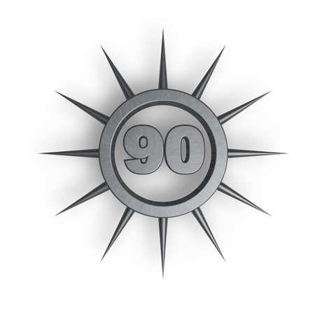 ninety: prickles ring with number ninety inside - 3d illustration