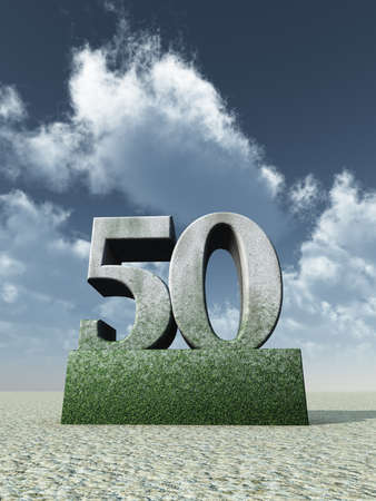 jubilation: stone number fifty monument under cloudy blue sky - 3d illustration