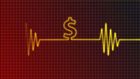 cardiogram curve with dollar symbol Stock Photo