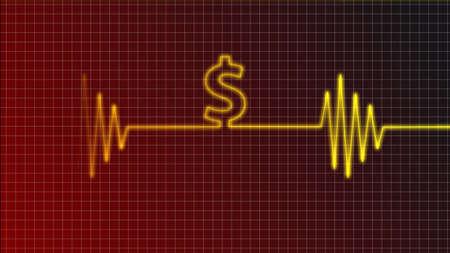 pulso: cardiograma curva con s�mbolo de d�lar
