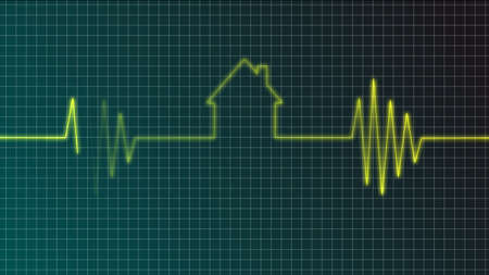 cardiogram with house symbol - illustration illustration