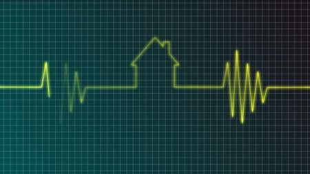 cardiogram with house symbol - illustration illustration