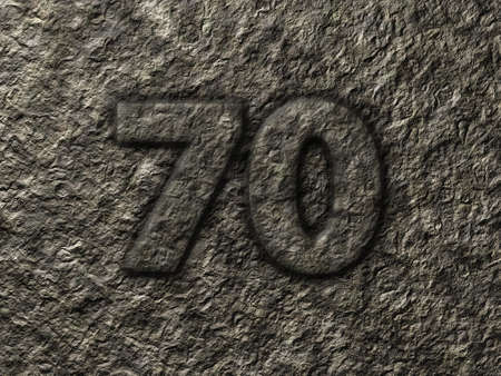 numerical value: number seventy in stone - illustration
