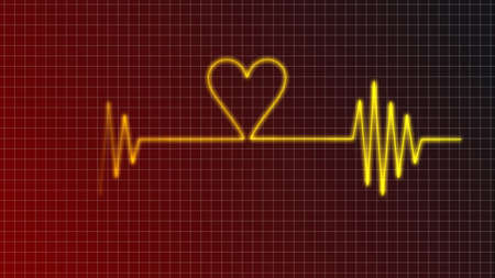 cardiogram curve with heart symbol photo