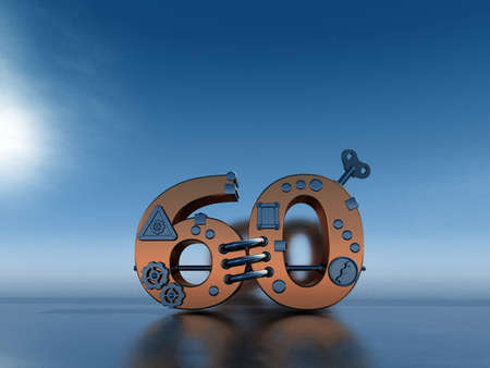 sixty: steampunk number sixty  - 3d illustration