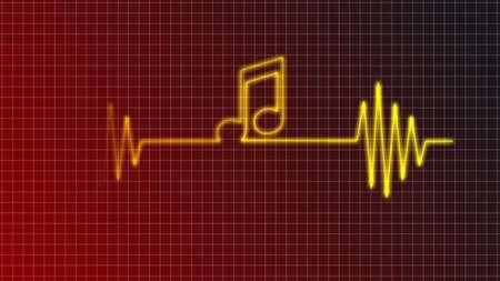 cardiogram curve with music note symbol - illustration illustration