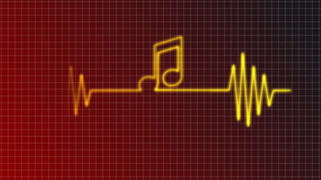 cardiogram curve with music note symbol - illustration