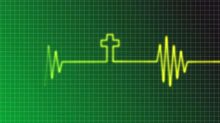 elettrocardiogramma: ecg curva con croce cristiana Archivio Fotografico