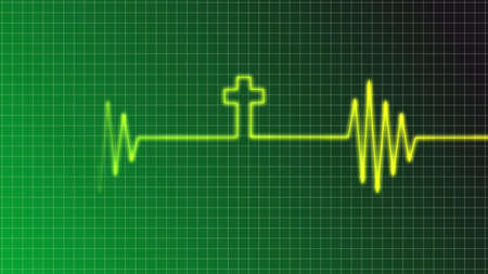 electrocardiogram: ecg curve with christian cross Stock Photo