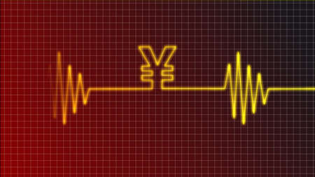 ecg curve with yen symbol photo