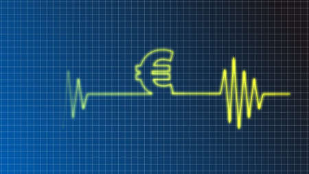 cardiograph: ecg curve with euro symbol
