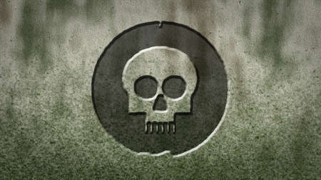 head bone symbol on stone background Stock Photo