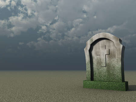 gravestone with christian cross under cloudy blue sky - 3d illustration illustration