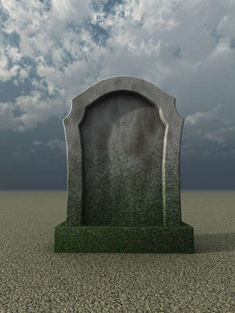 blank gravestone under cloudy sky  - 3d illustration illustration