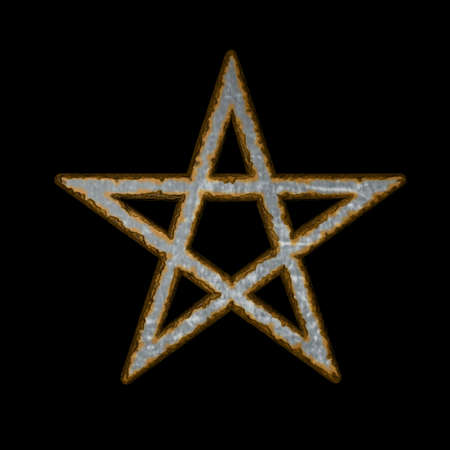 rusty pentacle on black background - 3d illustration illustration