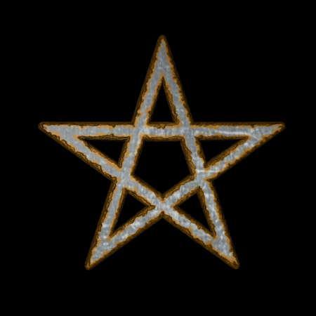 neopaganism: rusty pentacle on black background - 3d illustration