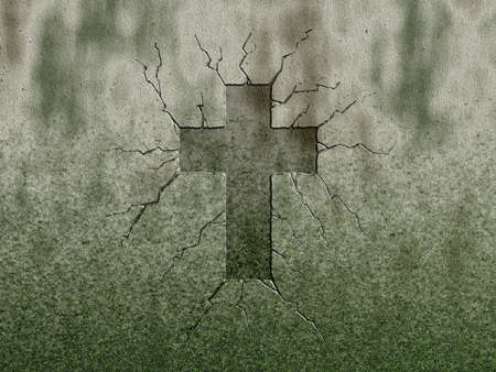 christian faith: christian cross symbol on stone wound Stock Photo