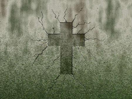 christian cross symbol on stone wound Standard-Bild