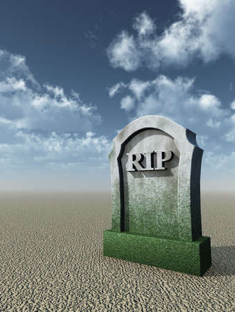 bury: gravestone with the letters rip - 3d illustration