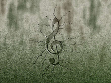 bass clef: clef relief on stone background Stock Photo