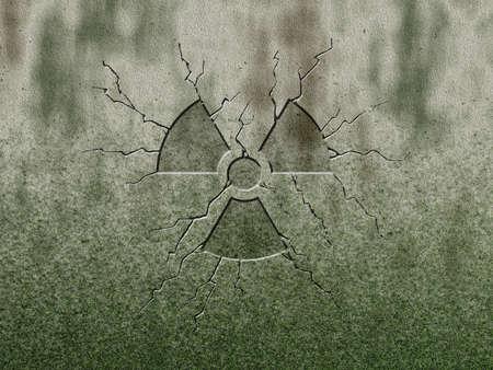 radioactive symbol on stone background