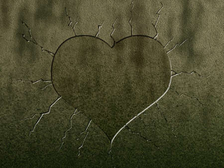 wounded heart: heart symbol on stone background Stock Photo