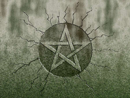 pentagram symbol on stone background photo
