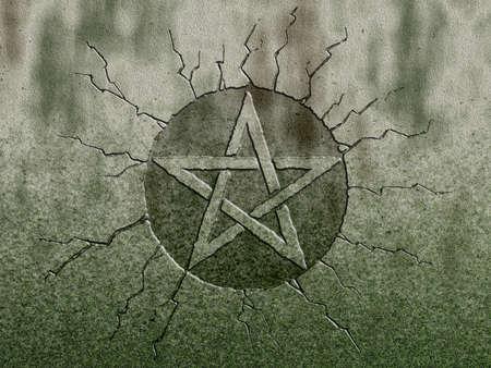 pentagram symbol on stone background Zdjęcie Seryjne