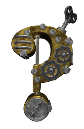 steampunk question mark on white background - 3d illustration