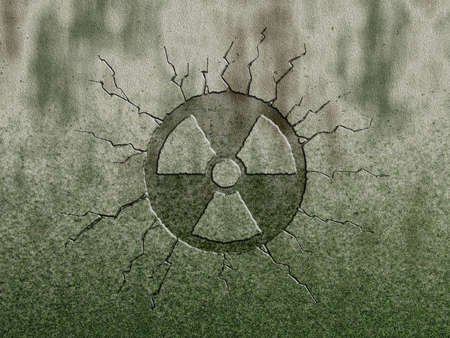radioactive symbol on stone background photo